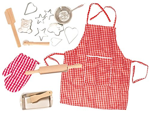 17 tlg. Kochset incl. Namen - Backset aus Metall + Küchenhelfer + Ausstechformen + Nudelholz + Topflappen + Schürze - Geschirr - Spiel Set Kochgeschirr - Küche Zubehör - für Kinder - Kindergeschirr - Puppengeschirr - rosa für Mädchen - Kinderbackset