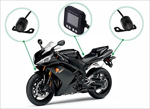 "Sykik Rider CR1, Dual Camera System for Motorcycles and Scooters. Front and Back Camera with Motion Activated Start and Stop. with 2"" Monitor"