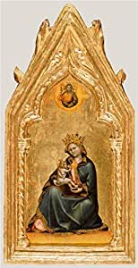 The Cotton Canvas of oil painting 'Madonna of Humility, about 1345 - 1350 By Guariento di Arpo' ,size: 12x23 inch / 30x59 cm ,this High quality Art Decorative Prints on Canvas is fit for Kids Room artwork and Home decoration and Gifts