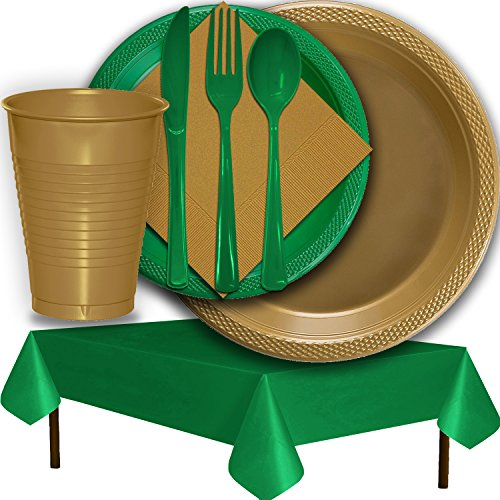 (Plastic Party Supplies for 50 Guests - Gold and Emerald Green - Dinner Plates, Dessert Plates, Cups, Lunch Napkins, Cutlery, and Tablecloths - Premium Quality Tableware Set)