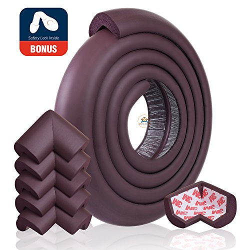 - Edge Protector for Baby Corner Guard Edge & Corner Guards [6.5ft Edge + 6 Corner] -10s to Install- Premium High Density Baby Proof Table Protector-Corner Cushion and Edge Safety Bumpers - Brown