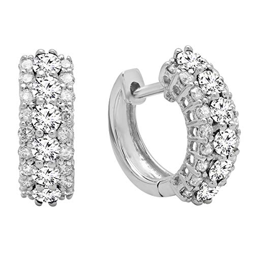 Dazzlingrock Collection 1.40 Carat (ctw) 14K Round White Diamond Ladies Huggies Hoop Earrings, White Gold