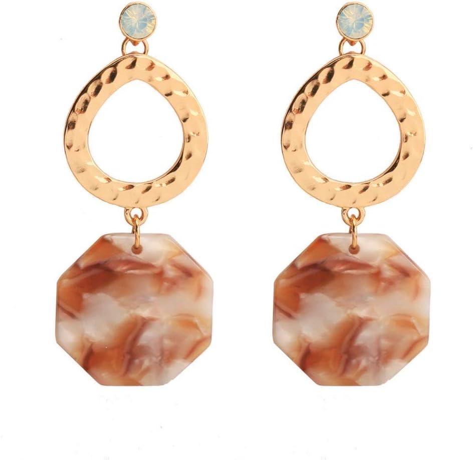 An baby123 Pendientes de joyería polígono aleación de Resina Pendientes de Piedras Preciosas Populares Moda