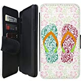 Flip Wallet Case Compatible with iPhone XR (Floral Flip Flops Hibiscus) with Adjustable Stand and 3 Card Holders | Shock Protection | Lightweight | Includes Free Stylus Pen by Innosub