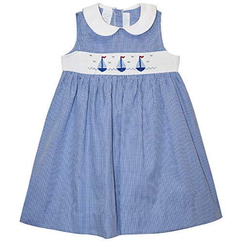 - Sailboats Smocked Royal Check Sleeveless Dress Blue