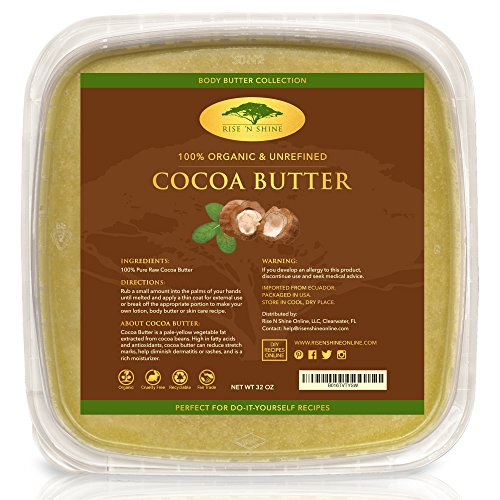 Spectacular Chocolate Chip - (32 oz) Bulk Raw Cocoa Butter with RECIPE EBOOK - Perfect for All Your DIY Home Recipes Like Soap Making, Lotion, Shampoo, Lip Balm & Hand Cream - Unrefined Organic Cacao Butter Good for Stretch Marks