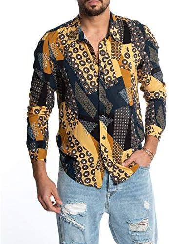 Camisa de Manga Larga con Estampado de Solapa de Caballero de ...
