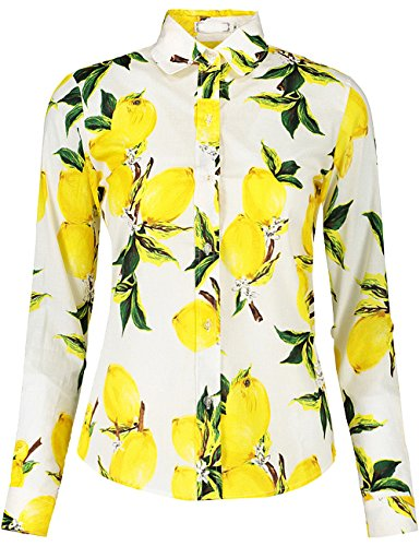 DOKKIA Women's Tops Vintage Casual Shirts Cotton Long Sleeve Work Button Up Dress Blouses (XX-Large, White Yellow Lemon)