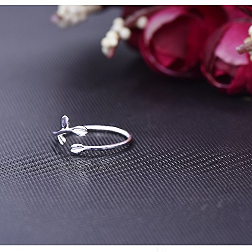 Long Way Ring, 925 Sterling Silver Adjustable Leaf Open ring Fine Jewelry for Women, Best Gift for Mother Wife Girlfriend at Christmas Birthday by Long Way (Image #4)