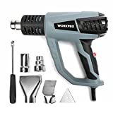 WORKPRO Heat Gun Heavy Duty 1500W 122°F-1112°F(50°C-600°C) Variable Temperature Control,3 Modes with Four Metal Nozzle Attachments(UL)