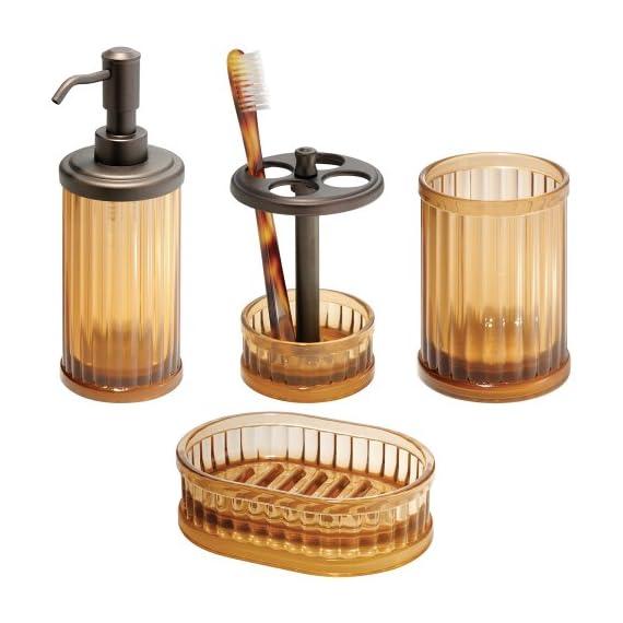 InterDesign Alston Soap Dispenser Pump for Body Moisturizer, Liquid Hand Soap, Sanitizer or Aromatherapy Lotion - Amber/Bronze -  - bathroom-accessory-sets, bathroom-accessories, bathroom - 51sP5fuN0aL. SS570  -