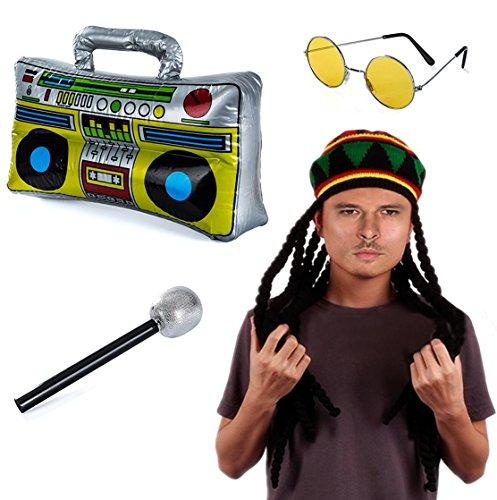 Tigerdoe Rasta Hat With Dreadlocks - 4 Pc Set - Stoner Costume - Jamaican Rasta Hat – Ragae Costume (Stoner Halloween Costume Ideas)