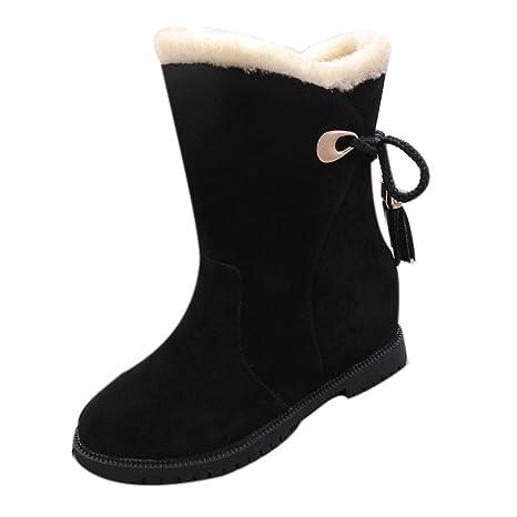 a66156756df Amazon.com: SUKEQ Women Faux Fur Suede Warm Snow Boots Hidden Wedge ...