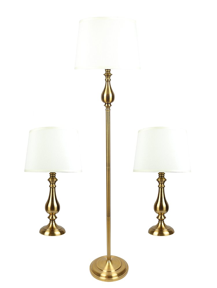 Urbanest McKinley 3-piece Table and Floor Lamp Set in Antique Gold with Eggshell Silk Shade