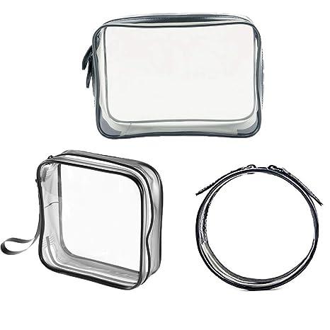 Bolsa de aseo con cremallera Travel Cosmetic Bag Organizers, Letopro TSA Approved Bolsa de maquillaje de ...