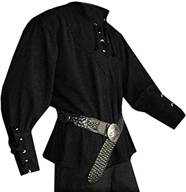 Hooleeger Camisa medieval para hombre, camisa gótica, steampunk, cosplay, camisa pirata, Halloween, carnaval