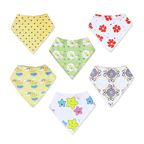 Baby Bandana Drool Bibs Unisex   6 Pack Gift Set for Newborns to Toddlers   Soft Cotton and Absorbent Polyester   Adjustable Nickel Free Snaps   Nice Shower Gift
