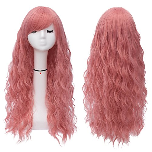 Mildiso Pink Hair Wigs for Women Girls Long Fluffy Curly Wavy Cosplay Wigs with Bangs Heat Friendly Synthetic Wig M047PK