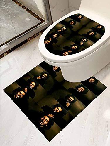 AuraiseHome Toilet Seat Tattoo Cover Bob Marley Vinyl Bathroom Decor 2-Piece Set (Best Bob Marley Tattoos)