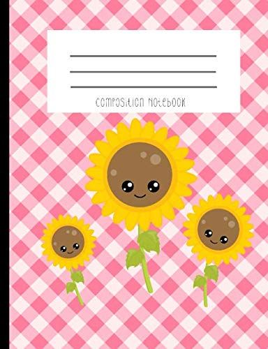 Composition Notebook: Sun Flower Kawaii Face Family Pink Gingham Summer Travel Journal And Notebook