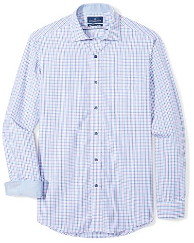 BUTTONED DOWN Men's Classic Fit Supima Cotton Spread-Collar Dress Casual Shirt, Purple/Blue Check, 20-20.5