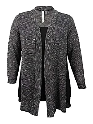 NY Collection Women's Plus Size Layered-Look Sweater (1X, Black)