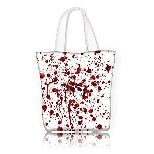 Canvas Shoulder Hand Bag —W11 x H11 x D3 INCH/reusable shopping bag handbag Print Design Bloody Splashes of Blood Grunge Style Bloodstain Horror Scary Zombie Halloween Themed Print Red White.
