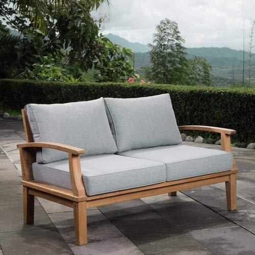 Modway EEI-1144-NAT-GRY-SET Marina Premium Grade A Teak Wood Outdoor Patio Loveseat, Natural Gray