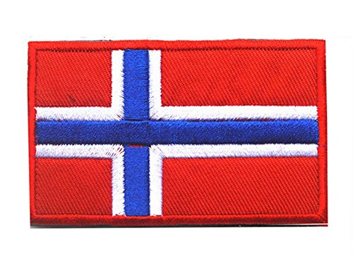 Flag Patch Norway (Embroidery Each Country's Flag Patch (3''X2'', Norway))