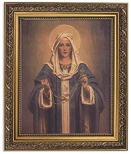 Chambers: Our Lady of the Rosary 11wx13h Inches 8x10 Print in Ornate Gold Finish Frame by Christian Brands