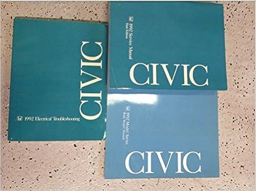 1992 honda civic service shop repair manual set w body & wiring diagram  manual paperback – 1992
