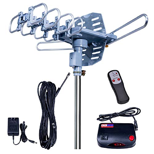2019UPDATED!150 Miles-Amplified Outdoor TV Antenna-4K/1080p High Reception+40FT RG6 Cable-360°Strong Motor Rotation Wireless Remote- Snap On Installation+2TV Function