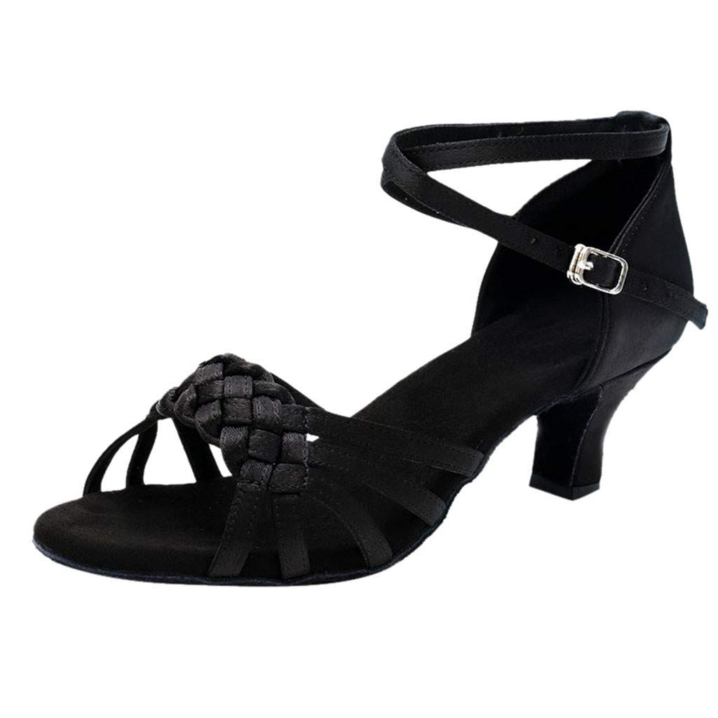 Respctful✿Women Fashion Dance Shoe Pee Toe Mid Heel Pumps PleaCrystal Satin Wedding Dress Shoes Black