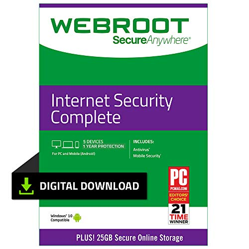 Webroot Antivirus Protection Internet Security Complete 2019 | 5 Device | 1 Year Subscription | PC Download