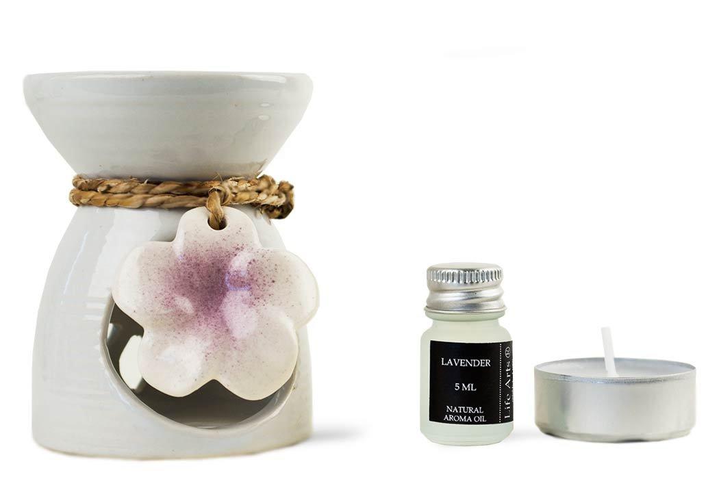 Lirio Quemador de Aceite Lavanda Conjunto de Regalo Blanco (9cm x 7cm x 7cm): Amazon.es: Hogar