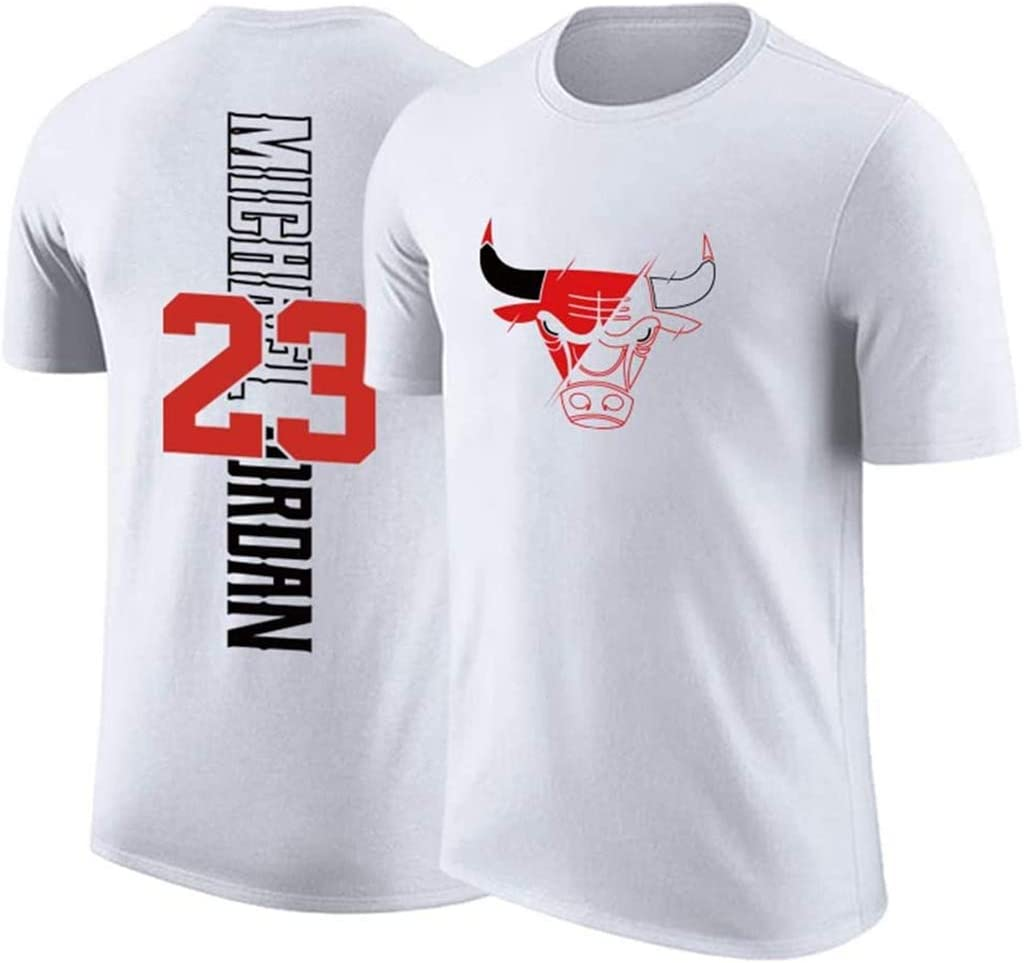 T-Shirt Swingman V/êtements De Basket-Ball,Rouge,3XL:185~190cm WZ Michael Jordan Basketball Jersey Chicago Bulls 23# Manches Courtes en Coton Col Rond T-Shirt