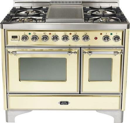 40' - 5 Burner Dual Fuel Range + Griddle with Convection Oven Finish: Antique White