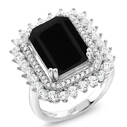 (Gem Stone King 925 Sterling Silver Black Onyx Women's Ring 5.60 Ct Emerald Cut Gemstone Birthstone Available in (Size)