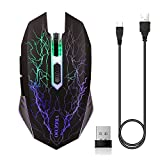 #3: ZTTOC Rechargeable Wireless Gaming Mouse for Mac, Laptop, Notebook, Quiet Computer Wireless Mouse With 7 Colorful Breathing LEDs, Silent Clicking Sound, 3 Adjustable DPI And 7 Buttons (Black)