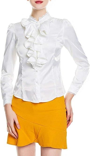 Blusa Vintage con Encaje con Cuello Mao Manga Basic Larga Camisa De Blusa Camisas De Mujer Elegante Adelgazan con Volantes Oficina De Negocios Camisa Tops Ropa: Amazon.es: Ropa y accesorios
