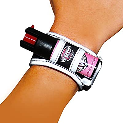 Pepper Spray for Running, Jogging, Walking, Hiking - Lightweight Wristband with LED Light, Emergency Id Card & Reflective Material - Black/Pink Model