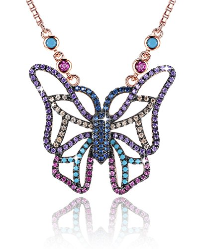"""Gemmance Butterfly Necklace Gifts for Women Multi-Color or Blue/Brown Pendant Jewelry AAA and Cubic Zirconia 18K Rose Gold Plated for Mother Girls 21st Birthday Anniversary Best Friend, 18""""+2"""" -"""