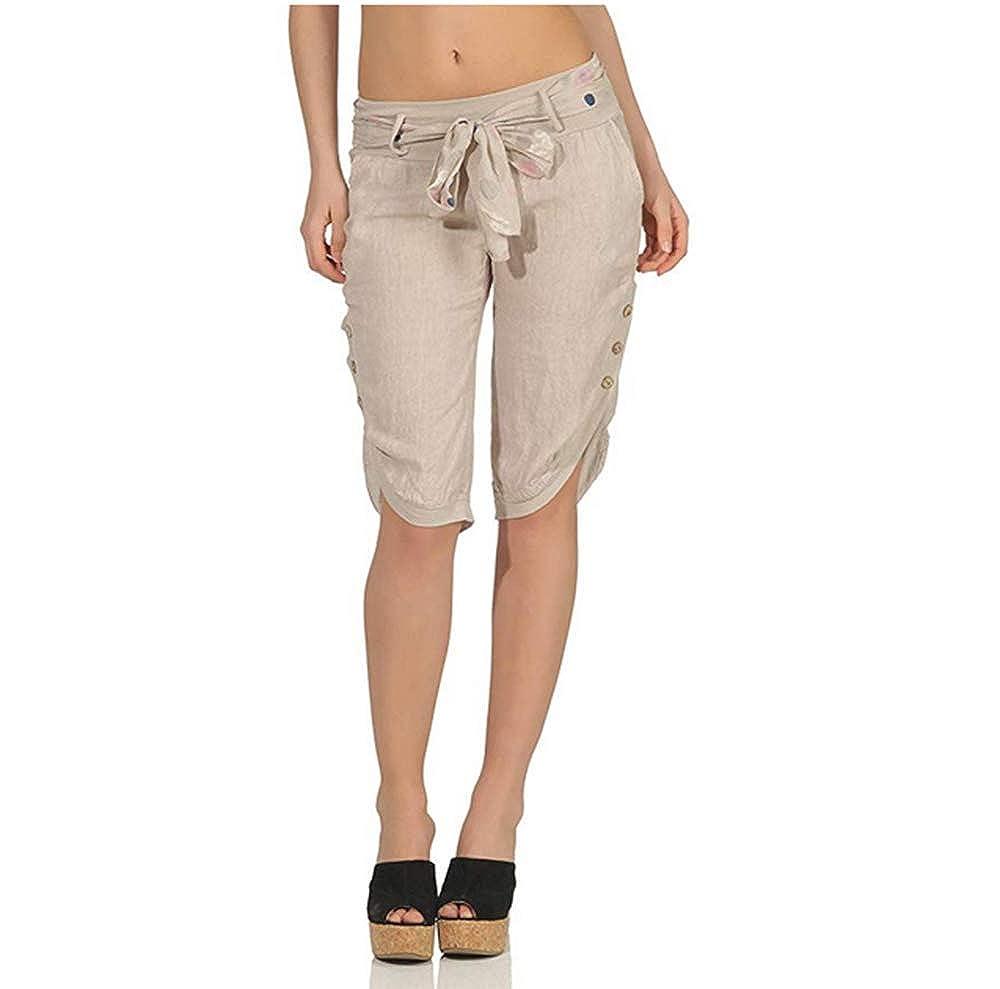 LASPERAL Pantacourt Femme Pantalons Courts Sarouel Legging Casual Et/é Confortable Boutons Shorts Mode Sport Yoga Fitness Pants