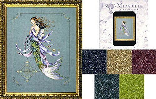 (Mirabilia Counted Cross Stitch Chart with Bead Pack ~ Shimmering Mermaid)