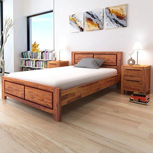 Footboard Nightstand Set (Daonanba Durable Bedroom Set Bed Frame Elegant Nightstand with 3 Drawers Complete Bedroom Furniture Set Solid Acacia Wood Brown Queen Size)