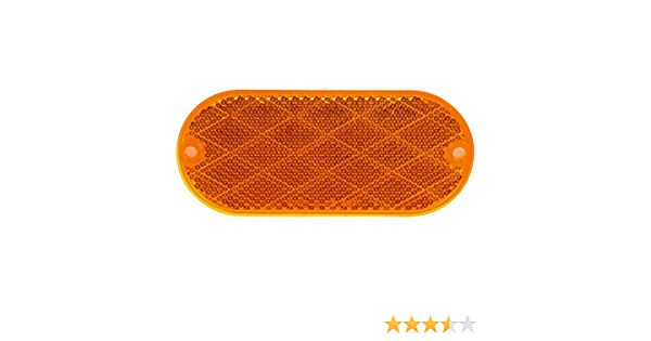 Oval, Yellow, Reflector, 2 Screw Or Adhesive Mount Truck-Lite 98001Y Yellow Reflector