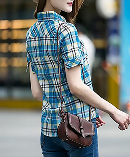 Camicia Fit T Blu Donna Quadri Slim Camicetta Moda Cucitura Single Estivo Misti Colori Breasted Magliette Shirt Elegante Corta Ragazza Bavero Abbigliamento A Classiche Shirt Manica raRxSprwq
