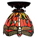 GAOLIQIN 18cm Tiffany Style Ceiling Light red Dragonfly Flush Mount Corridor lamp European Style Hand Crafted Stained Glass Ceiling Lamp - E27 - max 40W