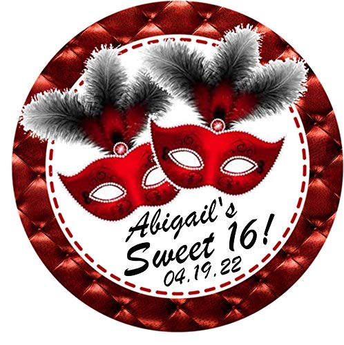 Red And Black Masquerade Ball Party Stickers or Masquerade Favor Tags, Masquerade Party Decorations, Masquerade Party Favors, Masquerade Party Supplies, Masquerade Sweet 16, Masquerade Quinceanera