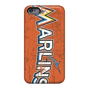 Bumper Hard Phone Cover For Apple Iphone 6 With Unique Design High Resolution Miami Marlins Skin JohnPrimeauMaurice